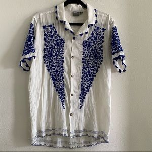 ASOS Shirt With Blue Embroidery and Stitch Details